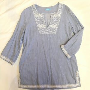 9a44bb04ef3 J. McLaughlin Striped Embroidered Tunic - Size L